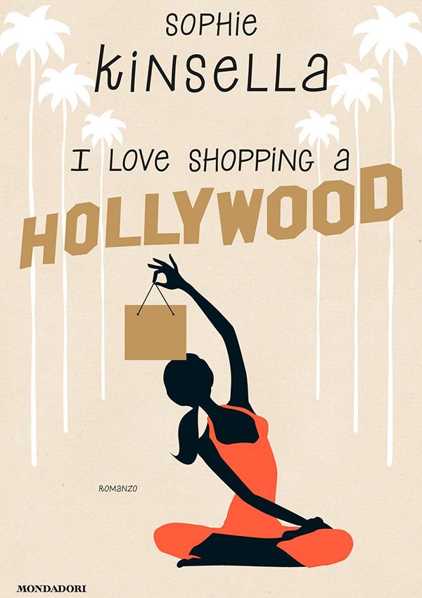 Una figura femminile mentre pratica yoga con la mente rivolta però allo shopping!